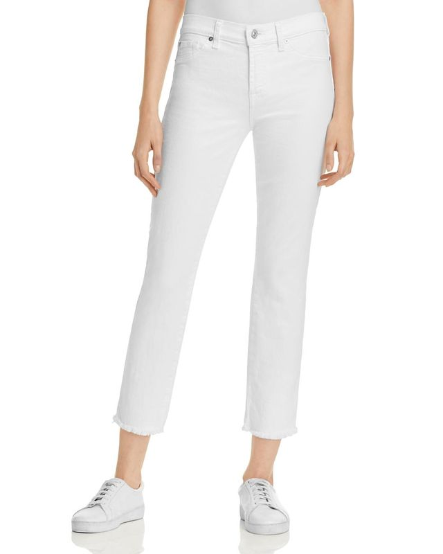 Roxanne Raw Hem Ankle Jeans in White Fashion