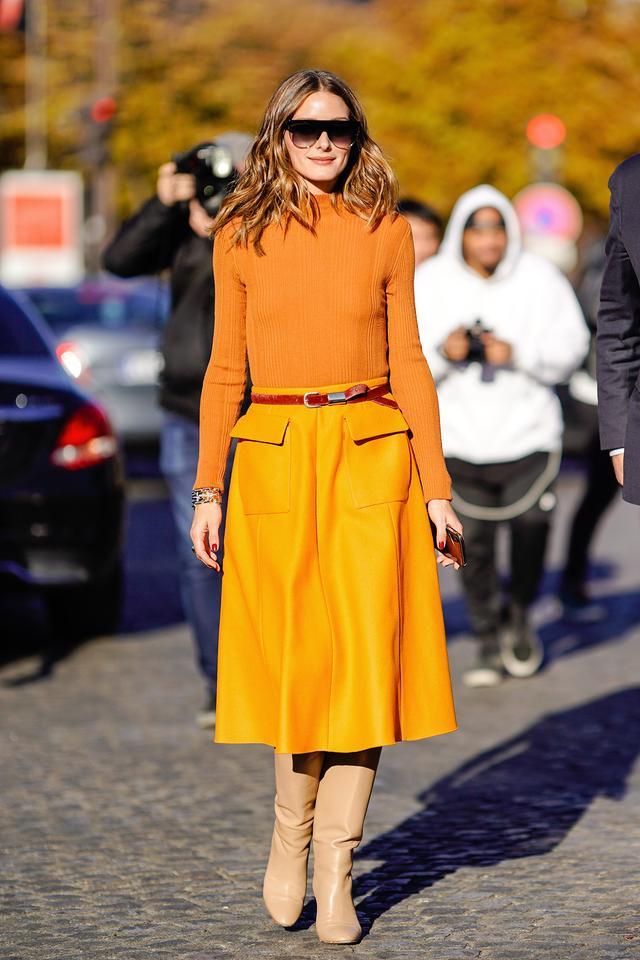 Olivia Palermo wearing orange