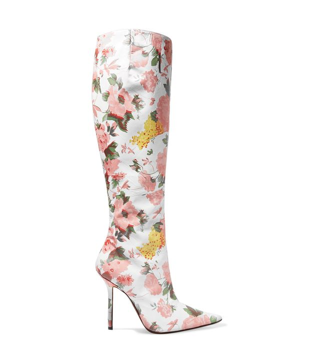 Floral-print Leather Knee Boots