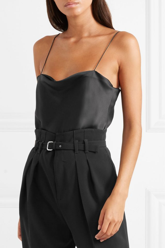 Dean Silk-charmeuse And Stretch-jersey Thong Bodysuit