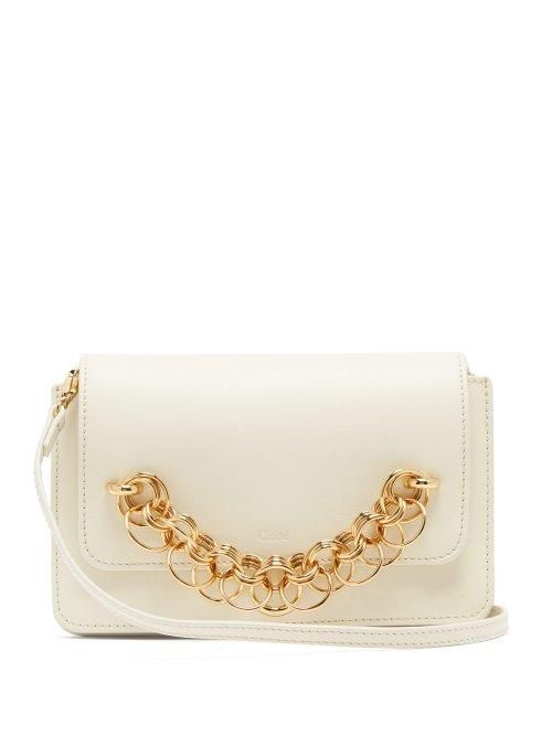 - Drew Bijou Leather Clutch Bag - Womens - White