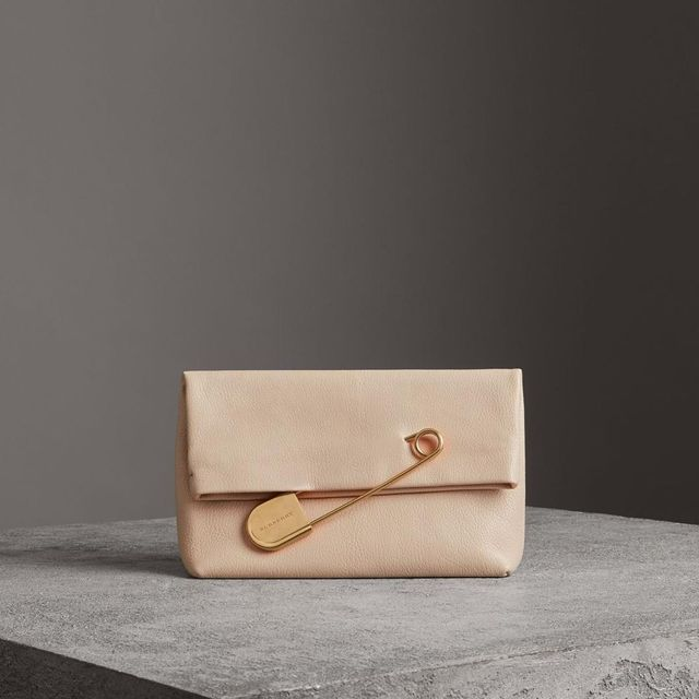 The Medium Pin Clutch in Leather, Beige