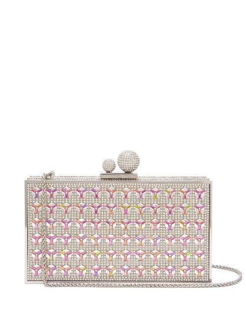 - Clara Crystal Embellished Clutch - Womens - Silver