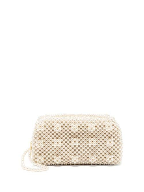 - Molly Faux Pearl Embellished Clutch Bag - Womens - Cream