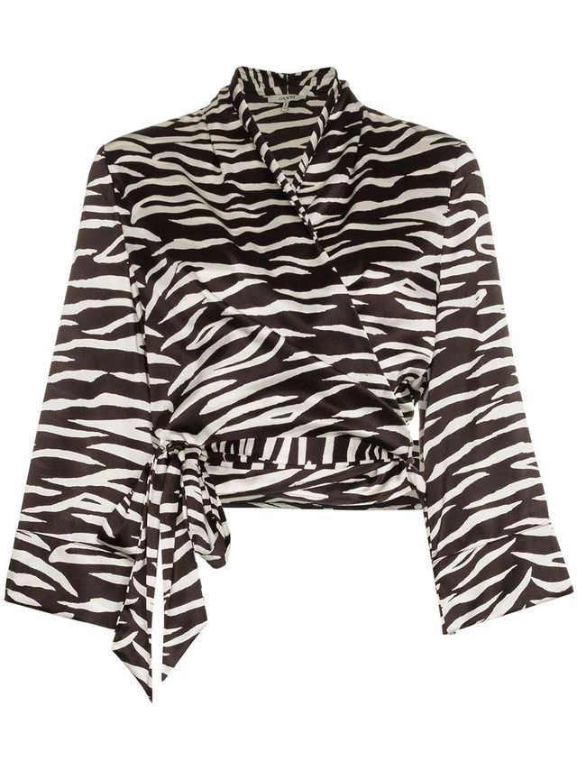 blakely zebra print silk wrap top