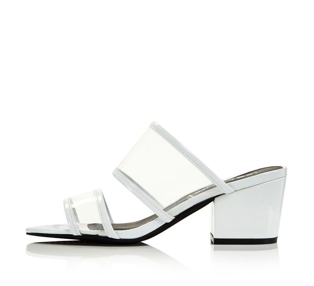 Sol Sana Ziggy Leather Illusion Block Heel Slide Sandals