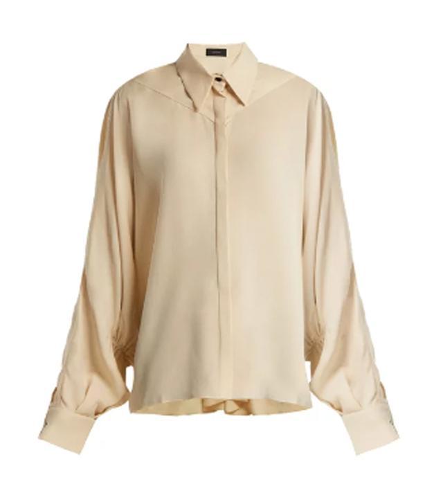 Joseph Gathered-Sleeve Silk Blouse