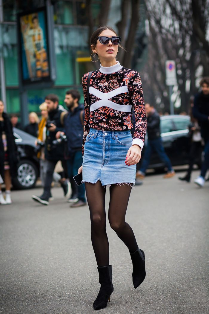 The Best Winter Jean Skirt Outfits Period Who What Wear
