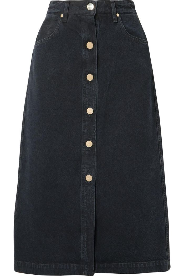 889b066a6 ... jean skirt for a weather-friendly winter look. Pinterest