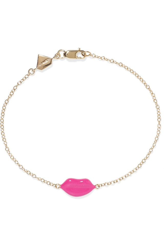 Lip 14-karat Gold And Enamel Bracelet