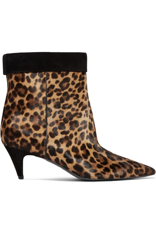 Charlotte Leopard-print Calf-hair Ankle Boots