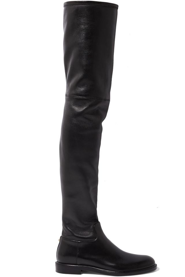 Garavani The Rockstud Leather Thigh Boots