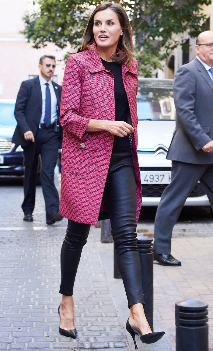 How Queen Letizia Wears Leather Leggings Who What Wear