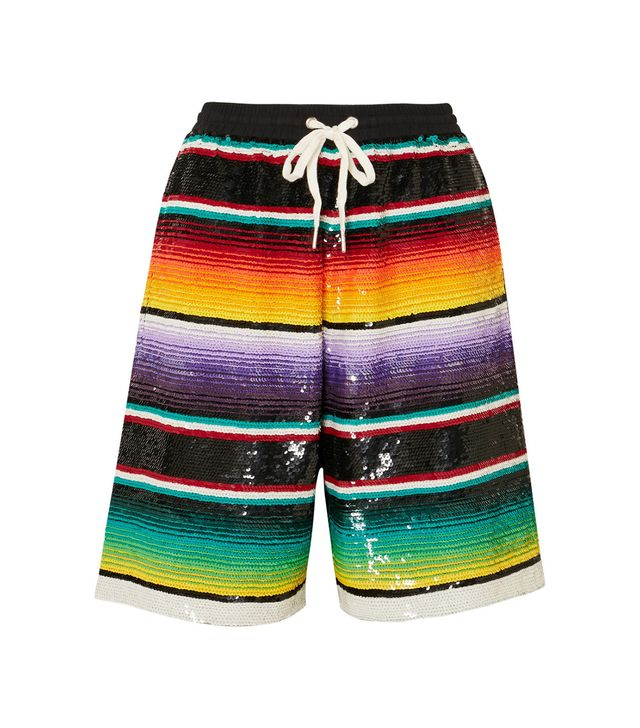 Striped Sequined Cotton Shorts
