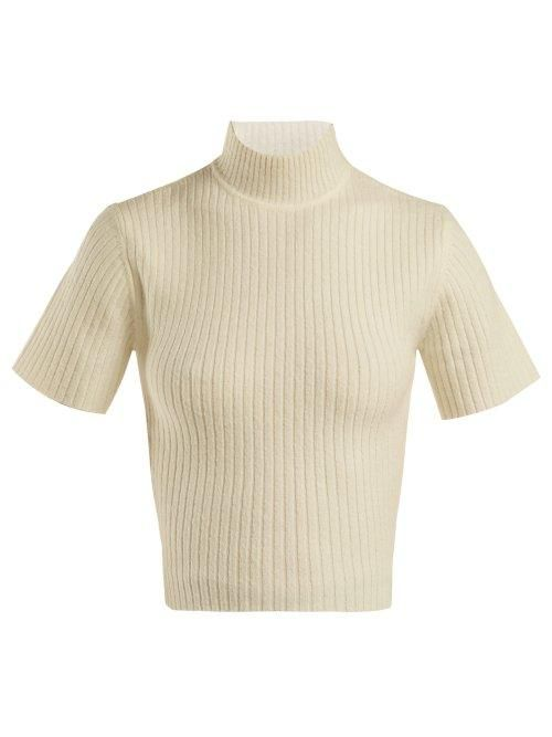 - Claudia Cropped Cut Out Sweater - Womens - Ivory