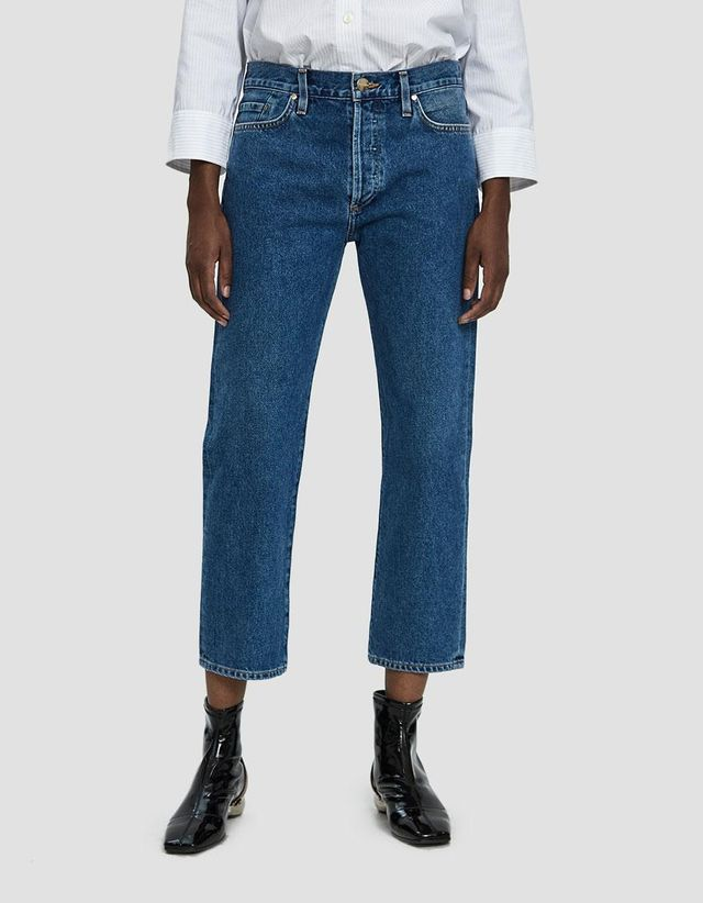 Low Slung Cropped Jean in True Blue