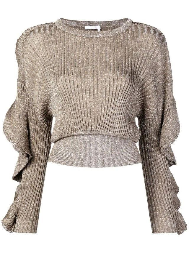 cropped ribbed knit sweater