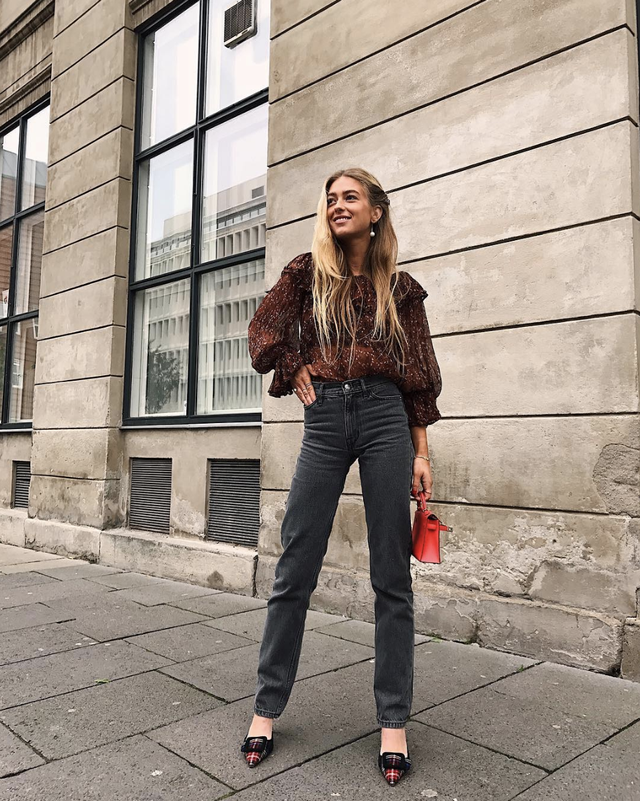 Cool high-waist jeans outfit