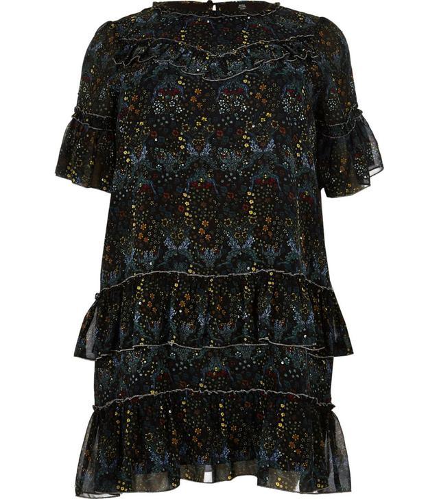 River Island Black Floral Print Ruffle Dress