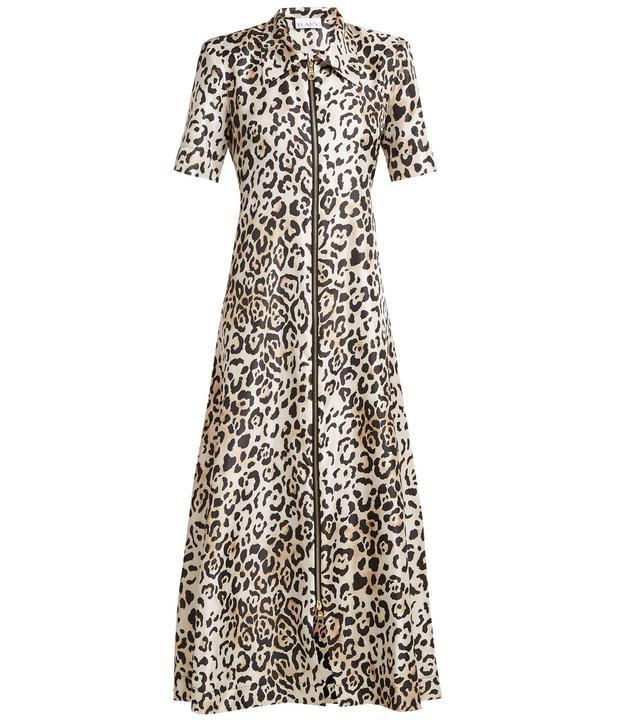 - Zip Front Leopard Print Twill Dress - Womens - Leopard