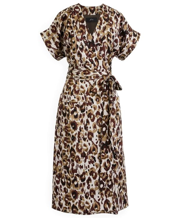 Plus Size Women's J.crew Leopard Print Satin Crepe Wrap Dress