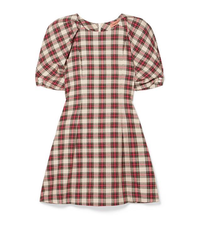 Fashionably Early Plaid Cotton Mini Dress