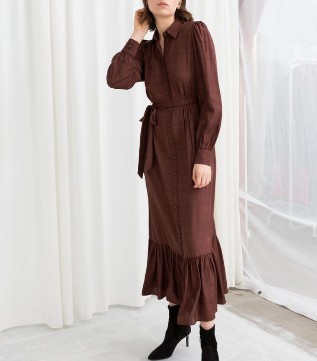 & Other Stories Belted Ruffle Midi Dress