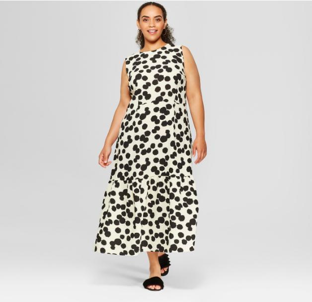 Women's Plus Size Polka Dot Sleeveless Ruffle Midi Dress