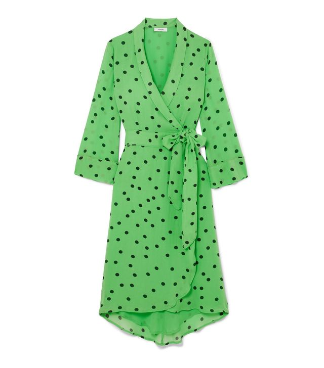 Polka-dot Georgette Wrap Dress