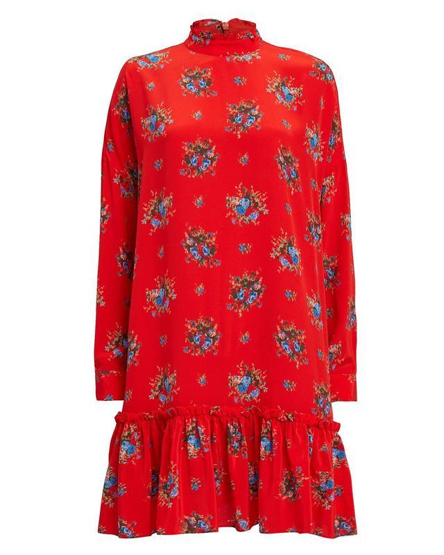 Ganni Kocchar Fiery Red Shift Dress Red 34