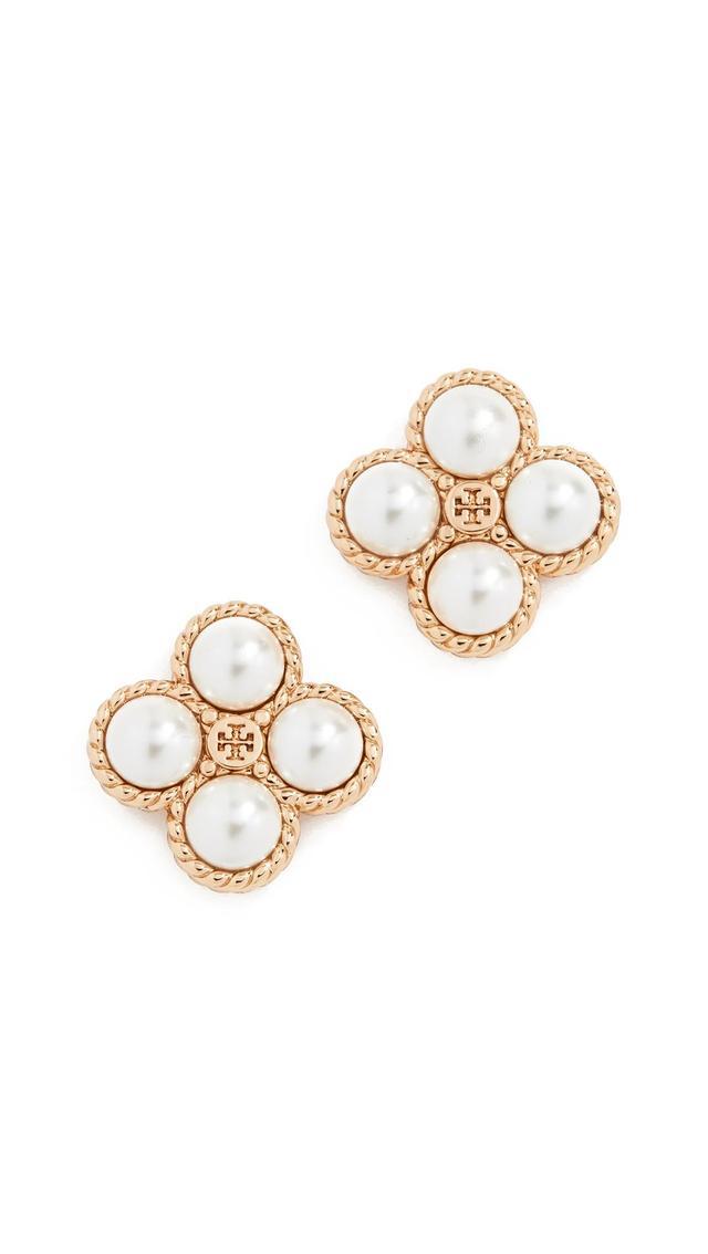 Rope Clover Swarovski Crystal Pearl Stud Earrings