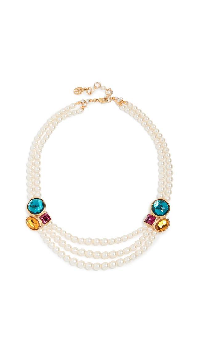 Imitation Pearl & Stone Necklace