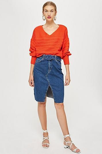 Belted Denim Midi Skirt