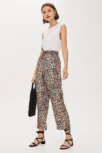 Petite Leopard Print Trousers