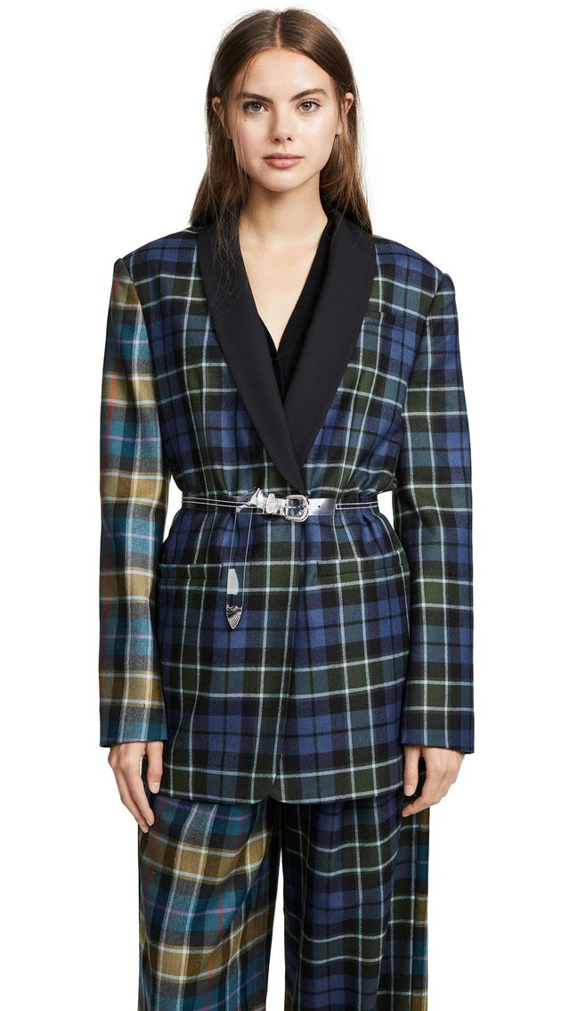 Tartan Oversized Tuxedo Blazer with Belt