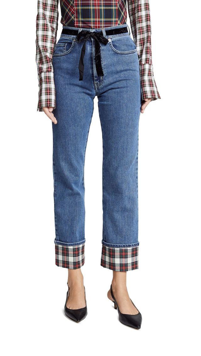Contrast Cuff Jeans