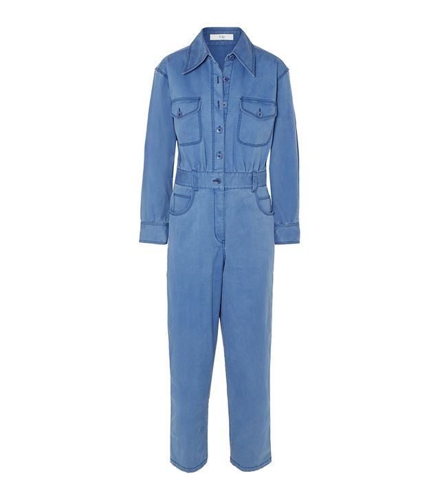 Washed Cotton-blend Twill Jumpsuit