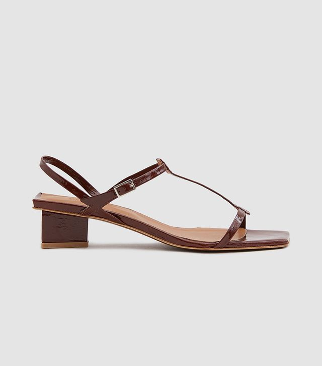 Krista Patent Leather Sandal in Brown