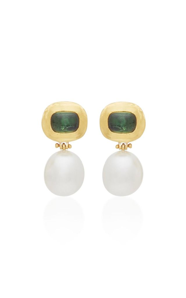 One-of-a-Kind Green Tourmaline and South Sea Pearl Hinge Earrings