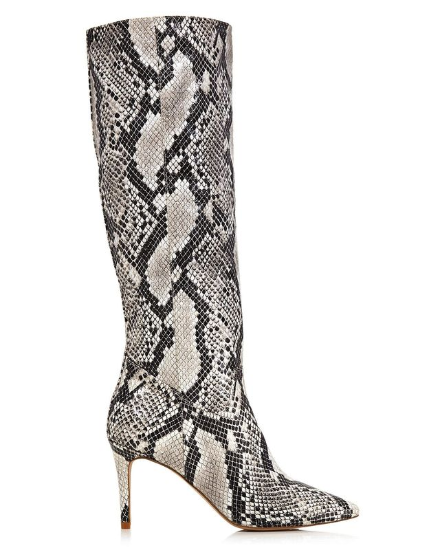 Women's Lenni Snake-Embossed Leather Tall Boots