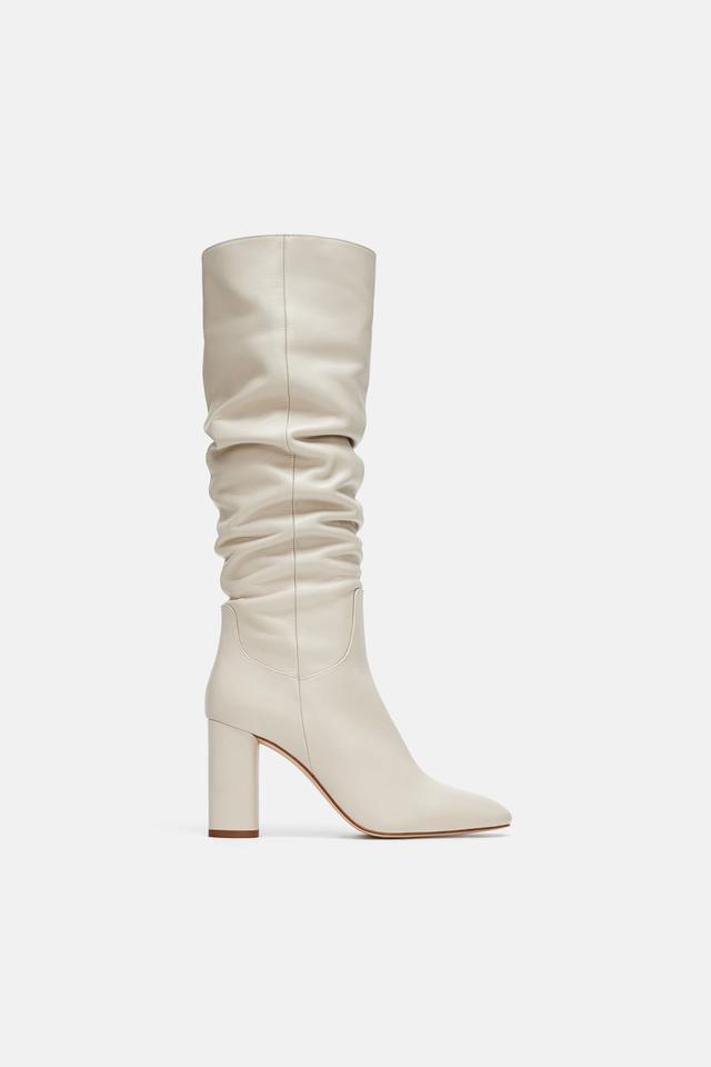 Zara High Heeled Leather Boots