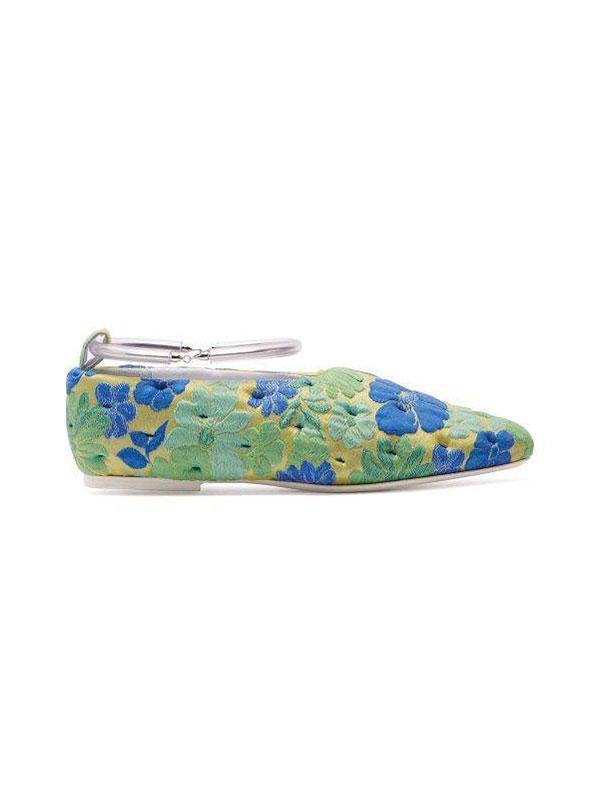 Floral Ankle Strap Ballet Flats