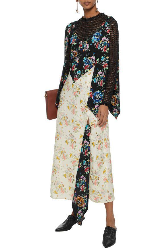 Embellished Floral-print Crepe Maxi Dress