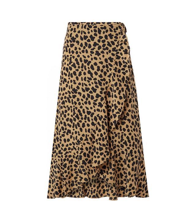 Gracie Leopard-print Silk-crepe Wrap Skirt