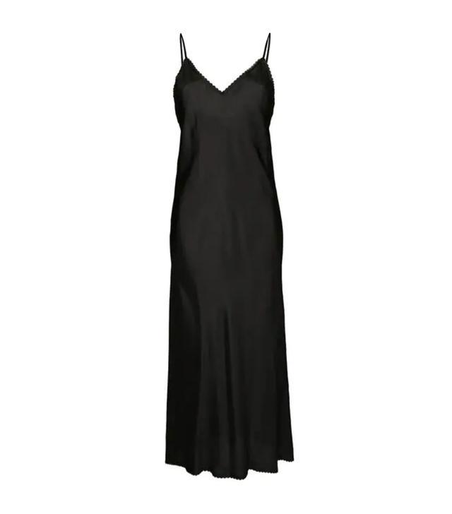 V-neck slip dress with lace