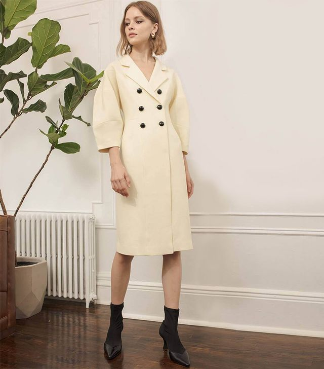 Pixie Ivory Double Breasted Coat Dress