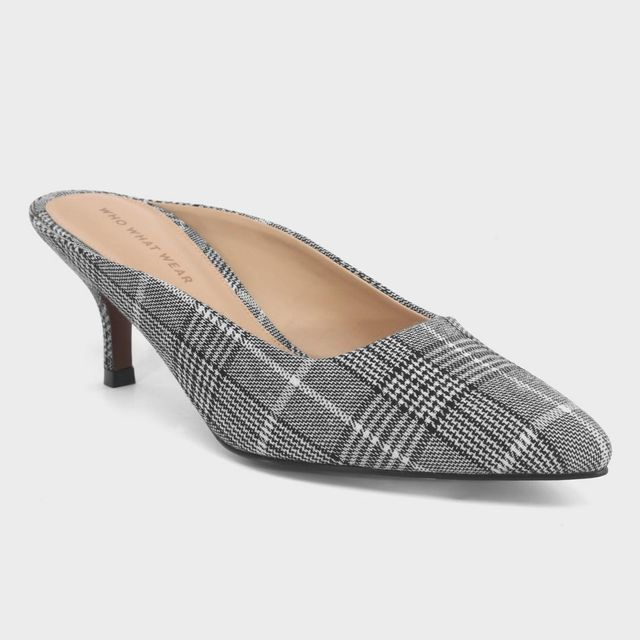 Kaia Plaid Kitten Heeled Mule Pumps