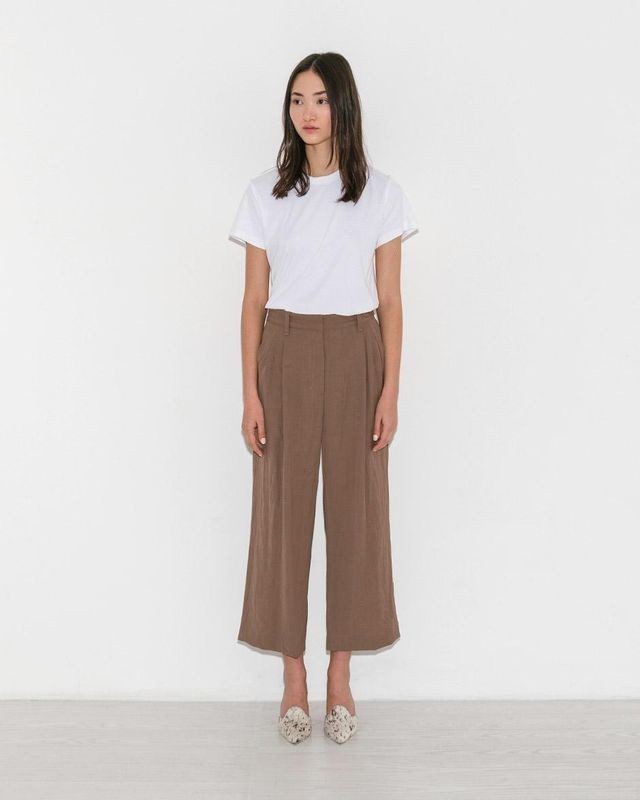 Dark Khaki Cropped Straight Pant