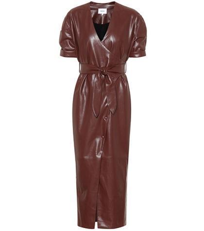 Penelope faux leather wrap dress