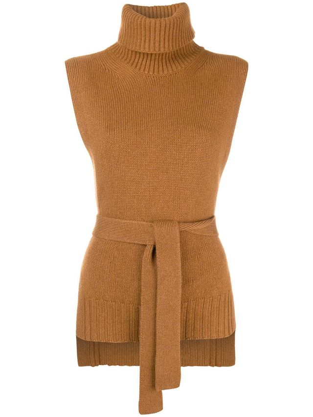 belted sleeveless jumper